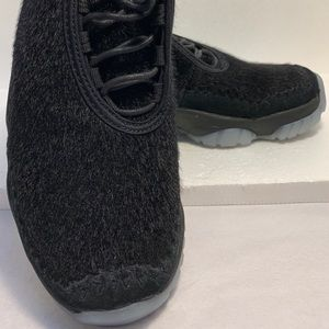Women's black fur Jordans